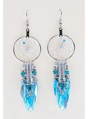 """1"""" Dream Catcher Earrings - aqua glass beads"""
