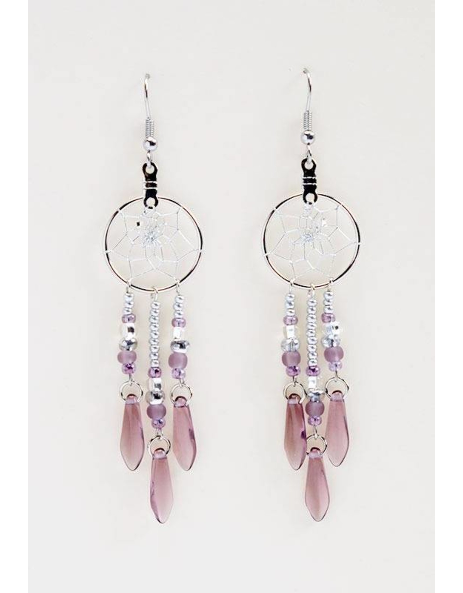 """.75"""" Dream Catcher Earrings with amethyst glass beads"""