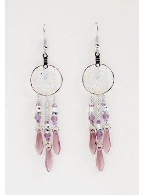 """.75 """"boucles d'oreilles capteur de Rêves avec des perles de verre améthyste"""