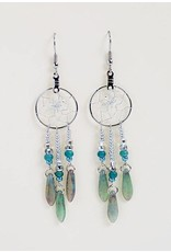 """.75"""" Dream Catcher Earrings with turquoise glass beads"""