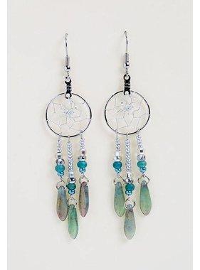 """.75 """"boucles d'oreilles capteur de rêves avec des perles de verre turquoise"""