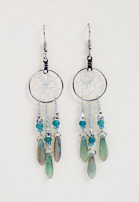 ".75"" Dream Catcher Earrings with turquoise glass beads"
