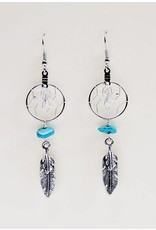 """.75"""" Dream Catcher Earrings with metal double feather and turquoise semi-precious stones"""