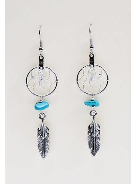 ".75"" Dream Catcher Earrings with metal double feather and turquoise semi-precious stones"