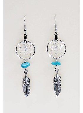 """Boucles d'oreilles capteur de rêves .75 """"avec double plume en métal et pierres semi-précieuses turquoises"""