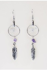 ".75"" Dream Catcher Earrings with metal double feather and amethyst semi-precious stones"