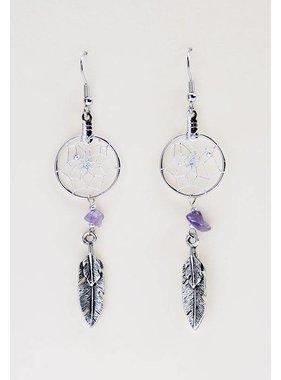"""Capteur de rêves .75 """" Boucles d'oreilles avec double plume en métal et pierres semi-précieuses d'améthyste"""