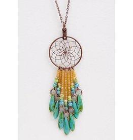 "1"" Dream Catcher Necklace - copper - picasso glass beads"