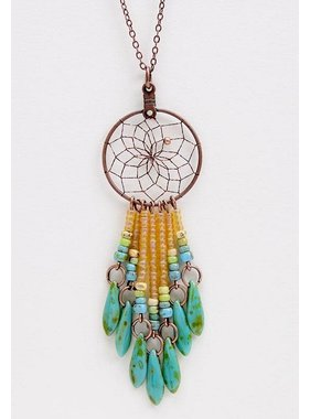 "1"" Dream Catcher Necklace - copper - picasso glass beads"