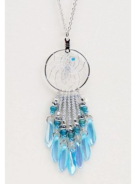 "Collier capteur de Rêves 1 ""- perles de verre aqua picasso"