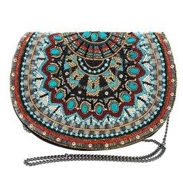 Mary Frances Handbags Girl Tribe Beaded Western Pattern Crossbody Saddle Handbag
