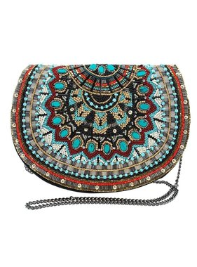 Mary Frances Handbags Girl Tribe Beaded Western Pattern Crossbody Saddle Handbag