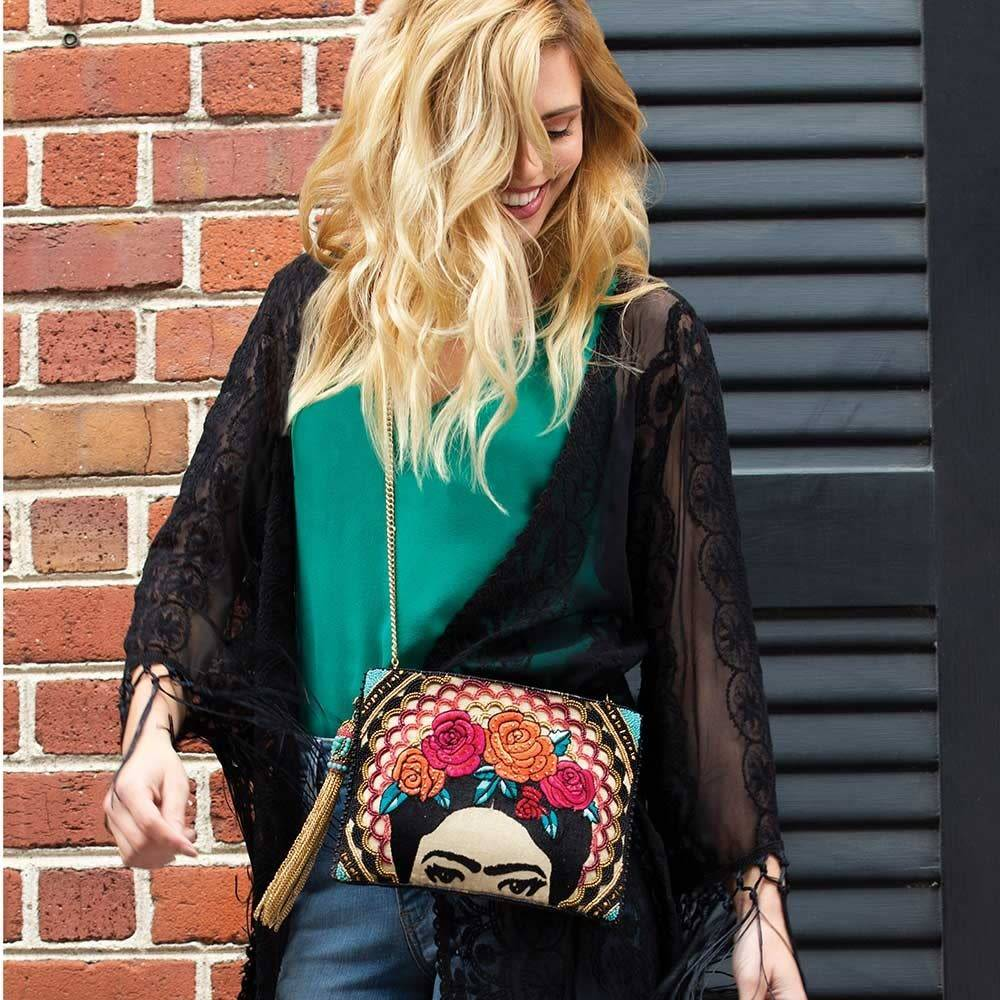 Mary Frances Handbags Frida Beaded-Embroidered Crossbody Clutch Handbag
