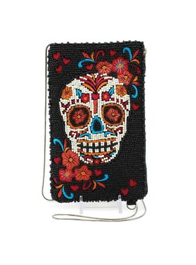 Mary Frances Handbags Skull Flower Beaded and Embroidered Sugar Skull Crossbody Phone Bag