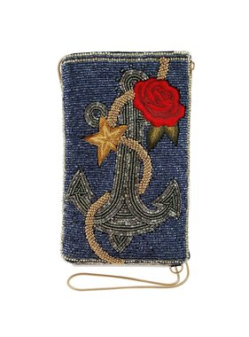 Mary Frances Handbags Anchor Yourself Beaded Nautical Theme Crossbody Phone Bag