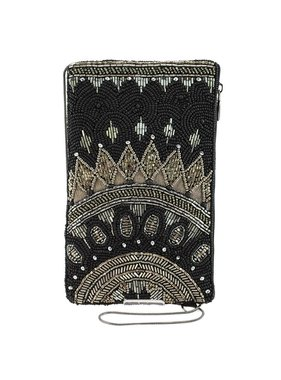 Mary Frances Handbags Kismet Black Beaded-Embroidered Crossbody Phone Bag