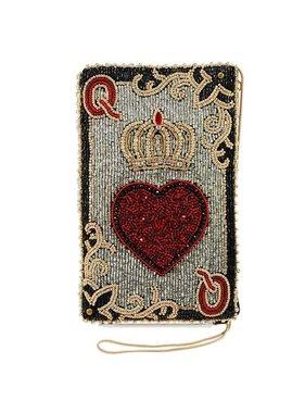 Mary Frances Handbags Sac à bandoulière en forme de carte à jouer avec perles Reine de Coeurs