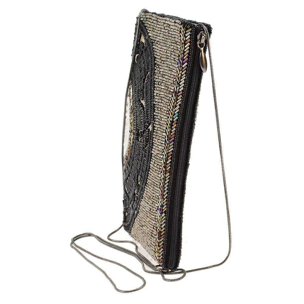 Mary Frances Handbags Off The Record Beaded Music Record Crossbody Bag