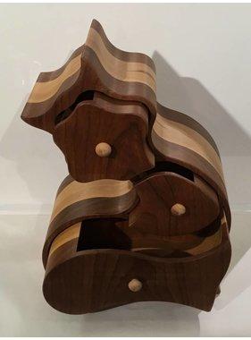 Coffre à bijoux en bois exotiques Collection « CHAT »