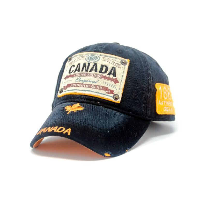 BLACK CANADA AUTHENTIC GEAR PATCH WASHED EMBROIDERY CAP