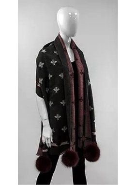 Mitchie's matchings Foulard ou châle en tricot réversible avec renard