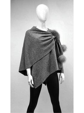 Mitchie's matchings Châle en tricot et garniture de renard - Choix de couleurs