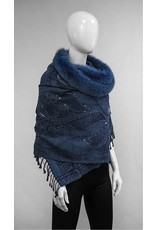 Mitchie's matchings Wool Wrap with Fox Trims