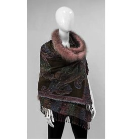 Mitchie's matchings Châle de laine et fourrure de renard - Choix de couleurs