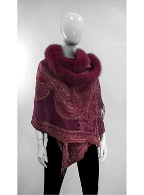 Mitchie's matchings Wool Wrap with Fox Trims  - Color Choice