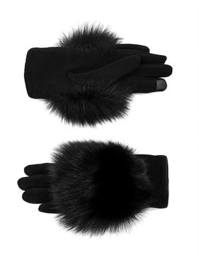 Mitchie's matchings KNITTED FOX TRIM GLOVES
