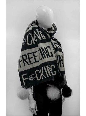 Mitchie's matchings 1 Foulard F*cking Freezing avec pompons de renard