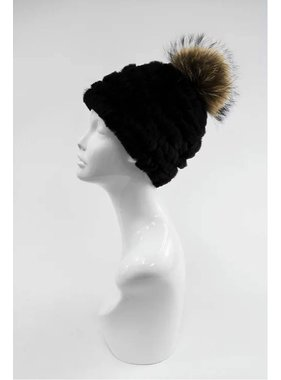 Mitchie's matchings Rabbit Beanie Knitted Hat with Fur Pom Pom - Two style