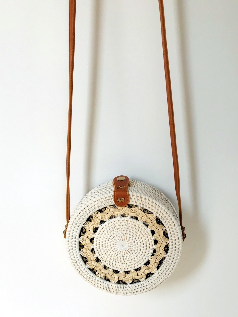 Rattan Gypsea Flora bag - White