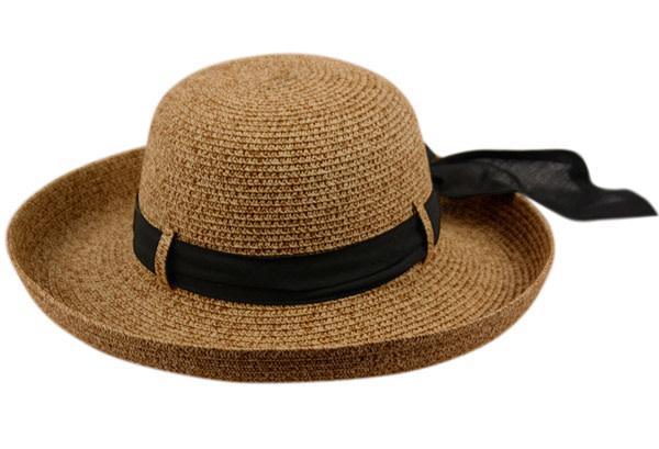 Chapeau de soleil en paille avec bande noir