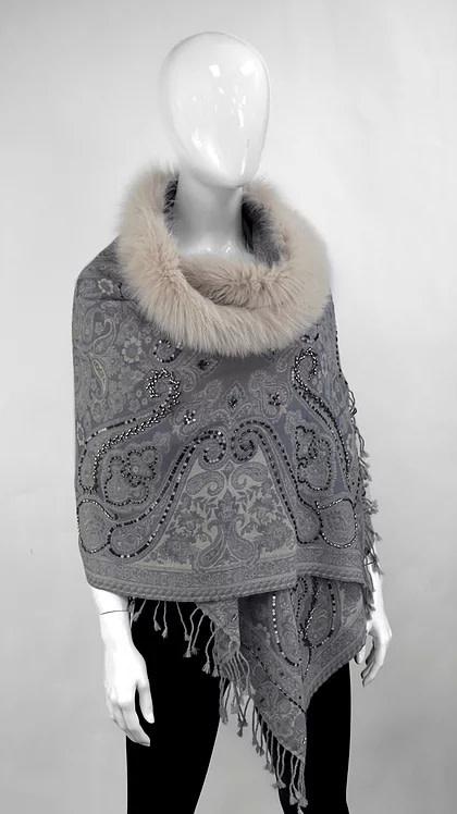 Mitchie's matchings Châle de laine et fourrure de renard