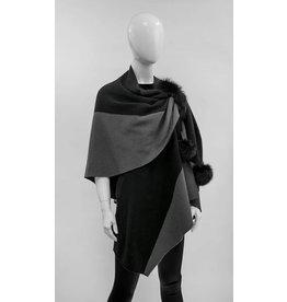 Mitchie's matchings Châle en tricot 2 tons avec garniture de renard - Choix de couleurs