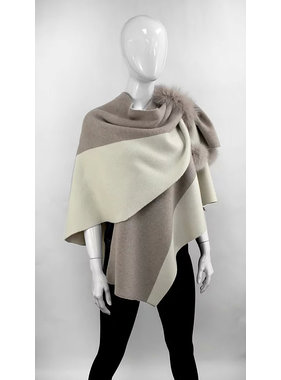 Mitchie's matchings Knitted 2 tones wrap/fox fur - Color choix