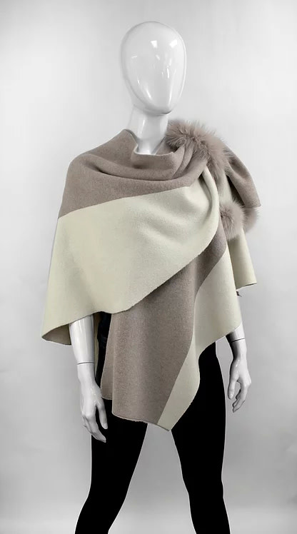 Mitchie's matchings Knitted 2 tones wrap/fox fur