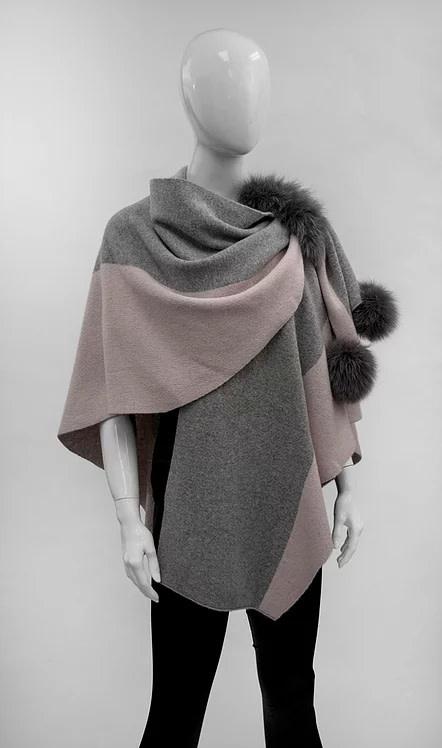 Mitchie's matchings Châle en tricot 2 tons avec garniture de renard