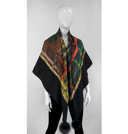 Mitchie's matchings Foulard léger en laine avec satin et pom pom de renard  - Noir et étoile