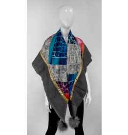 Mitchie's matchings Light Wool woven Scarf with satin fabric and fox fur