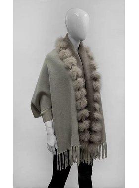 Mitchie's matchings Châle réversible en tricot et renard - Beige ivory