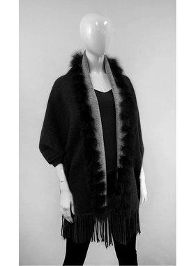 Mitchie's matchings Châle réversible en tricot et renard - Noir et gris