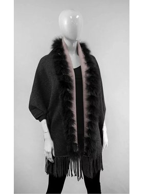 Mitchie's matchings Reversible knitted wrap and fox fur trim - Charcoal Pink