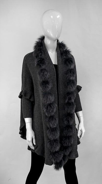 Mitchie's matchings Châle en tricot à volants avec fourrure de renard