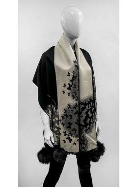 Mitchie's matchings Foulard ou châle en tricot réversible avec renard - Papillon