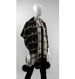 Mitchie's matchings Foulard ou châle en tricot réversible avec renard - LOVE