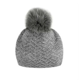 Mitchie's matchings Classic knitted Beanie with snap Fox Pom Pom