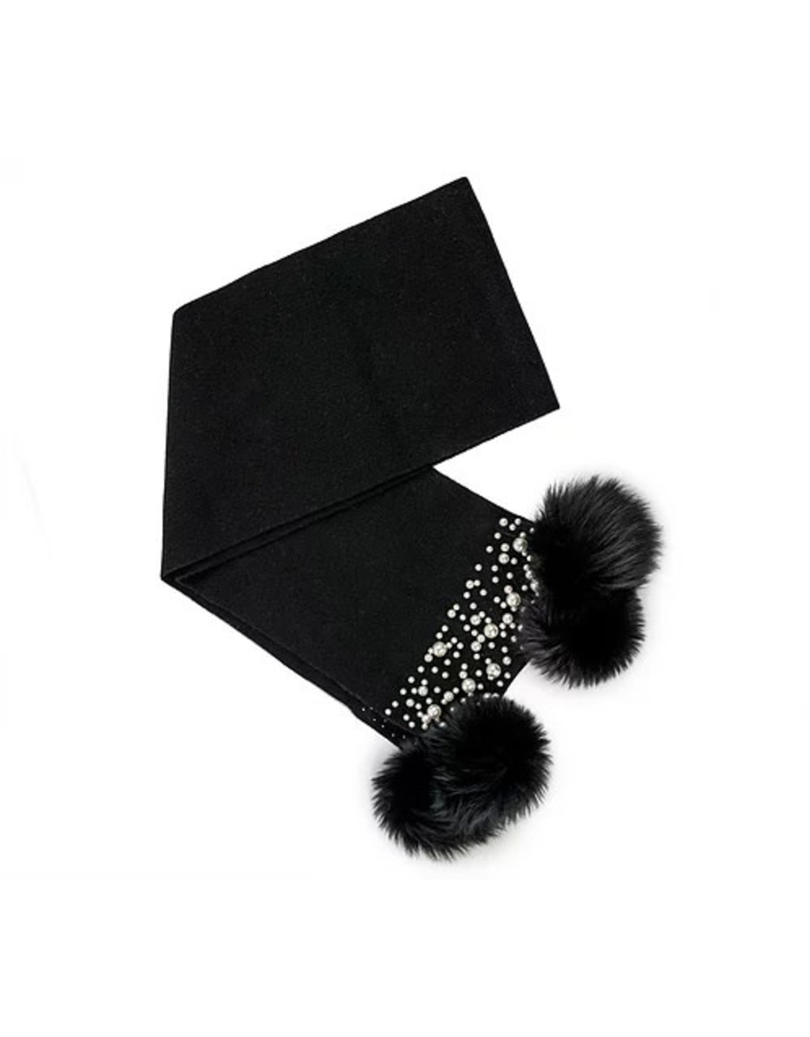 Mitchie's matchings Knitted scarf with Fox Pom Pom and Pearls