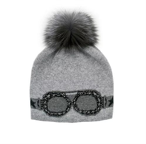 Mitchie's matchings Tuque style verre de Ski avec Pompon de renard